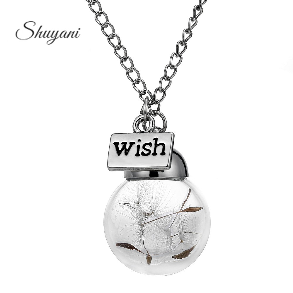 Wish Glass Bottle Necklace Real Natural Dandelion Seeds Water Drop Bottle Botanical Pendant Long Chains Necklace For Woman(China (Mainland))