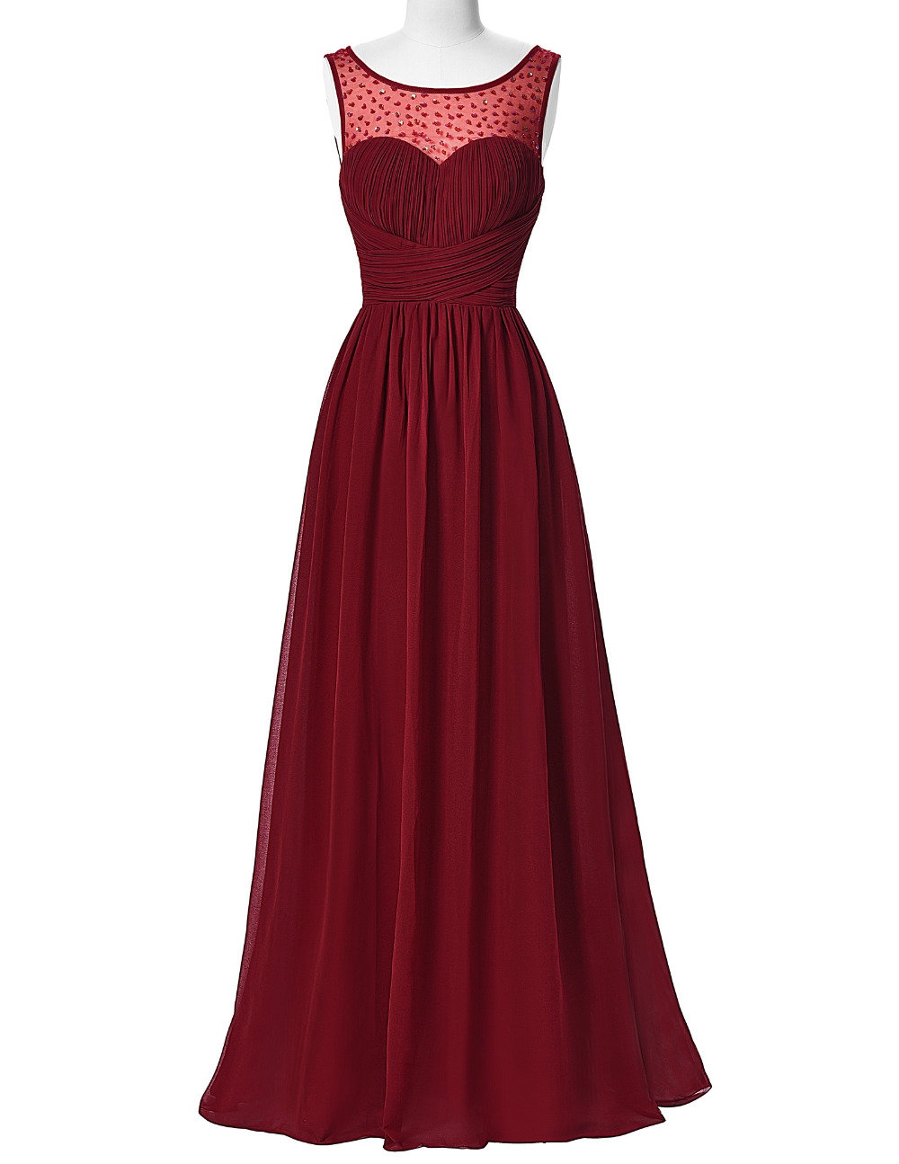 Hot Sell Long Burgundy Prom Dresses 2016 Sleeveless V-Back Chiffon Ombre Dress Strazz Ruched Wedding Dinner Dress Prom Gowns(China (Mainland))