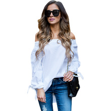 BeAvant Brand 2016 new fashion bow loose white blouse shirt Sexy summer off shoulder women tops Causal girls party blusas
