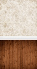 Brown Vintage Wallpaper And Brown Wooden Floor Photography Backdrop D-068(China (Mainland))
