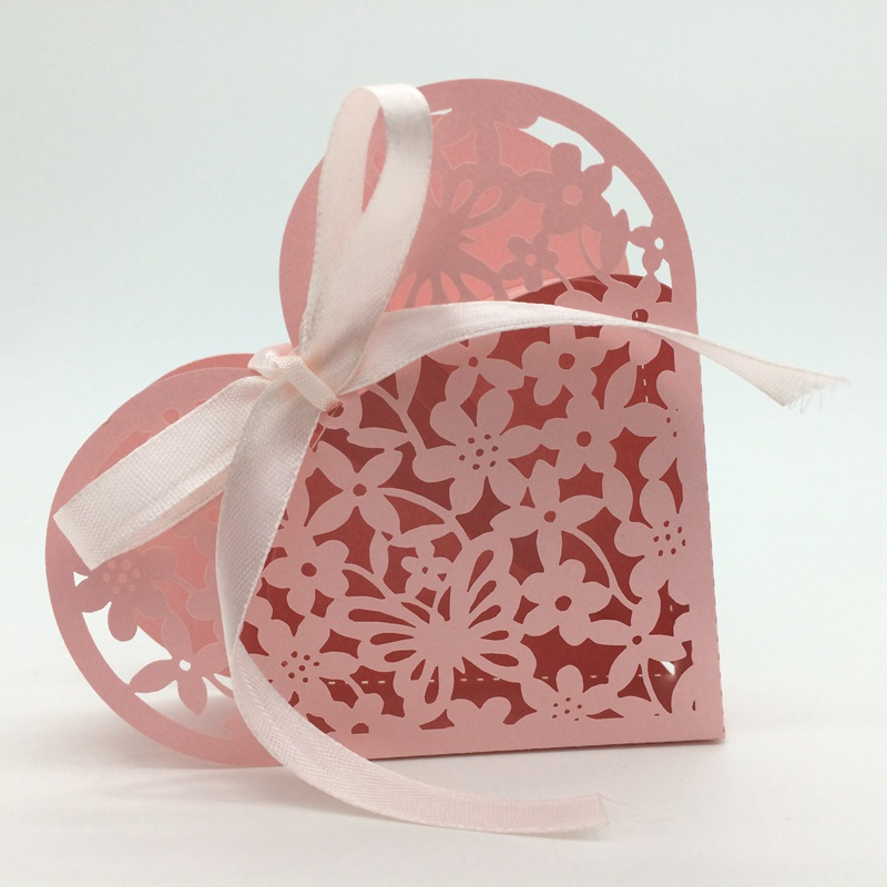 120PC/lot 43 Color Valentine's Day Laser Cut Lover Heart Candy Box Flower Ribbons Gift Boxes Wedding Party Favors Decoration - H&D-World store