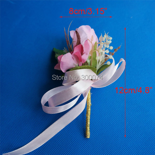 High Quality Silk Rose Flower Boutonniere/ corsage For Wedding Groom, Homecoming, Prom or Parties, 6pcs / lot,(China (Mainland))