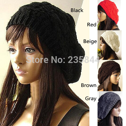 A20 Women Lady Fashion 5 Colors Warm Winter Beret Braided Baggy Beanie Hat Ski Cap H6504 P12(China (Mainland))