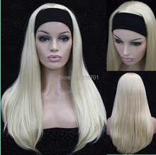 Half wig 3/4 wigs With headband Long Straight Blonde Synthetic Hair Wig 9 colors for you choose Free shipping(China (Mainland))