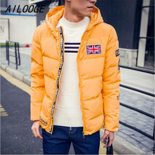 AILOOGE Free Shipping 2016 White Navy Red Yellow Zipper Hooded 3XL Plus Size Casual Parka Men Duck Down Jacket(China (Mainland))