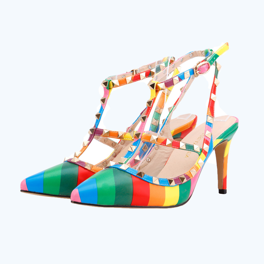 Free Shipping 2016 summer new fashion personality pointed high-heeled womens singles sandals Rainbow Series sandals 105 MFT<br><br>Aliexpress