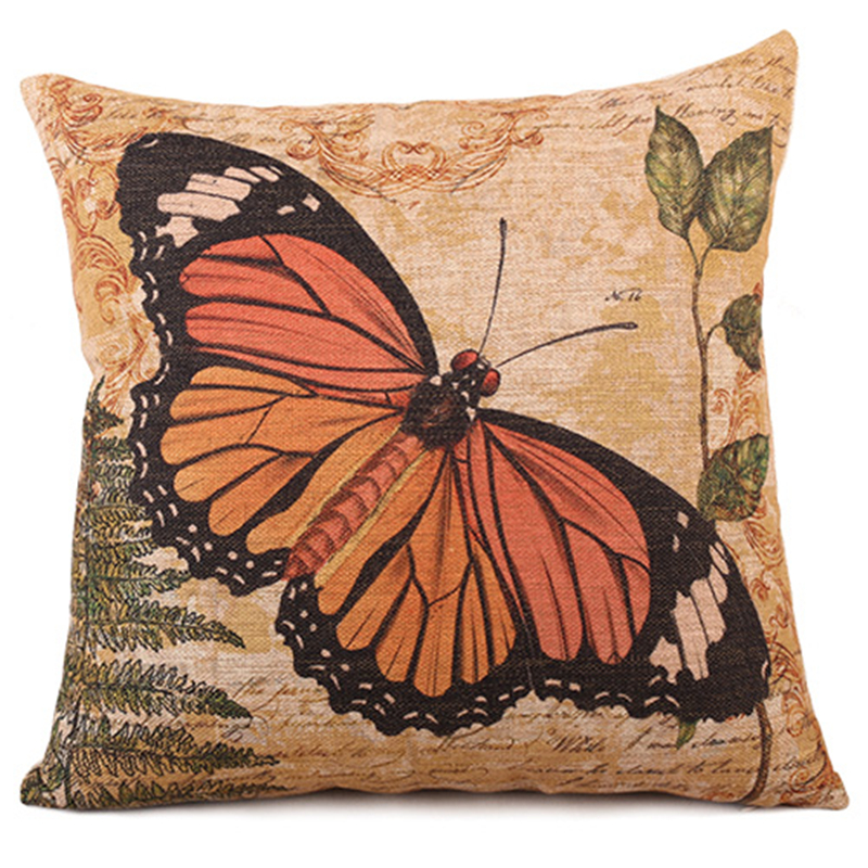 Home Decor Gift Orange Beautiful Butterfly Beautiful Vintage Style Sofa Cushion Cover Bedding Pillow Case Cotton Linen 45*45cm(China (Mainland))