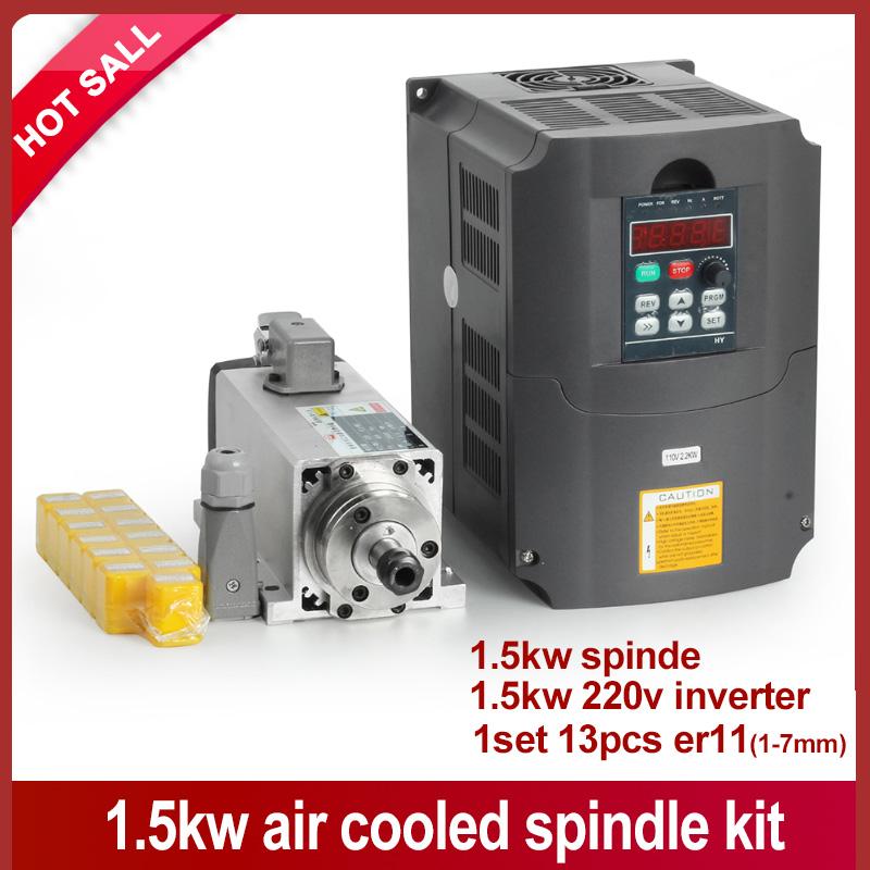 New arrive! !1.5kw air cooled spindle motor cnc spindle motor + 220V/1.5KW inverter + 1set er11 Square milling machine spindle(China (Mainland))