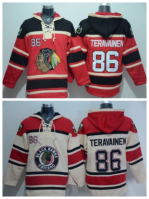 2016 Chicago Blackhawks 86 Teuvo Teravainen Ice Hockey Hooded Old Time Red Beige Teuvo Teravainen Hoody Pullover Sweatshirt Hood(China (Mainland))