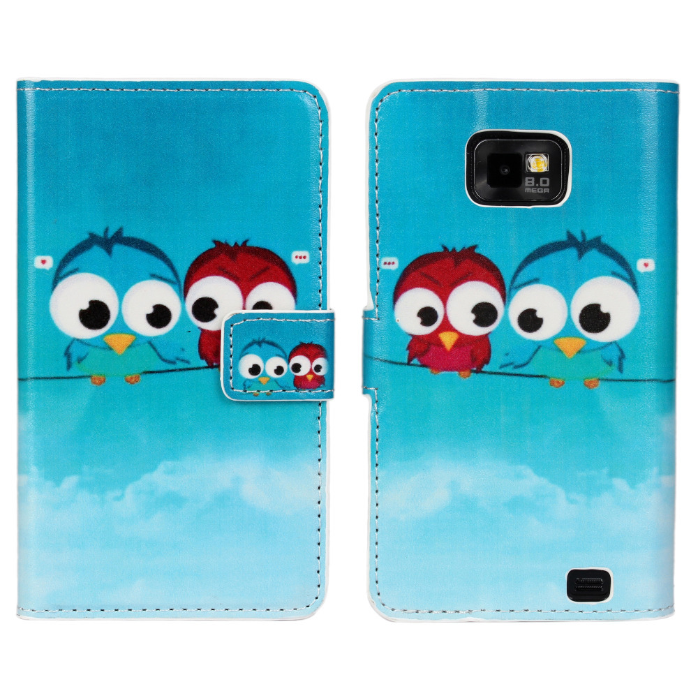Cute Love Owl Wallet Leather Case for Samsung Galaxy S2 i9100 Case Coque Fundas for Samsung Galaxy S2 Cover with Card Holder(China (Mainland))