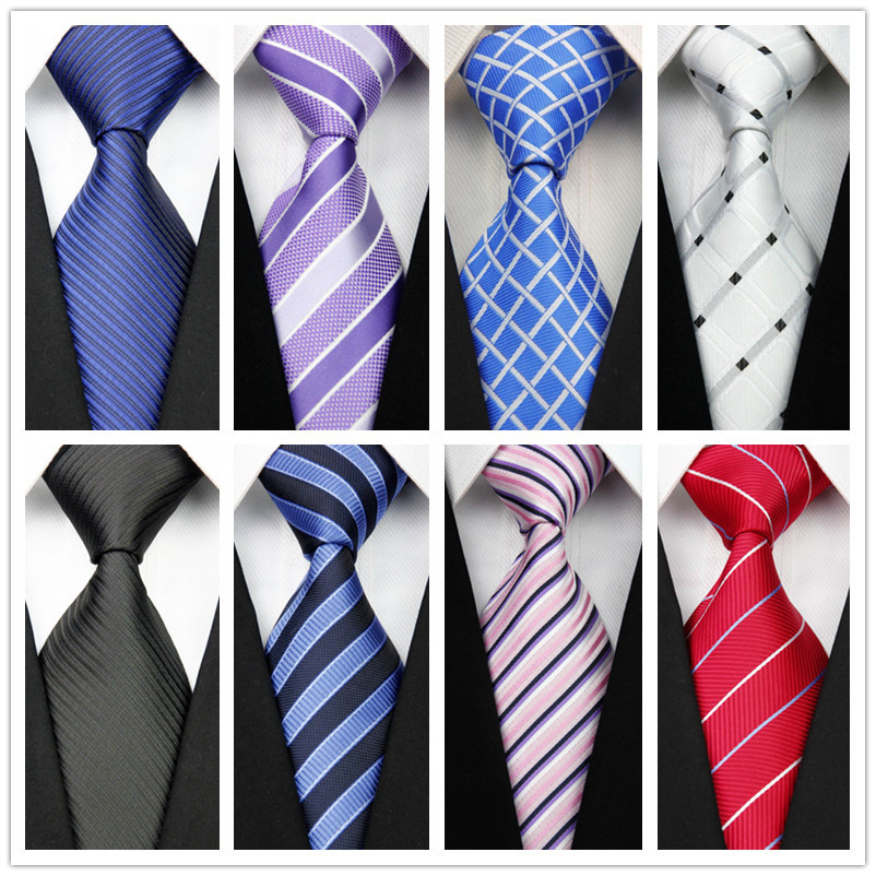 con92 Man's New Classic Striped Plaid Silk Polyester Woven Black Blue Orange Tie Business Wedding Party Casual Necktie(China (Mainland))