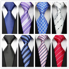 Man's New Classic Striped Plaid Silk Polyester Woven Black Blue Orange Tie Business Wedding Party Casual Necktie con92(China (Mainland))