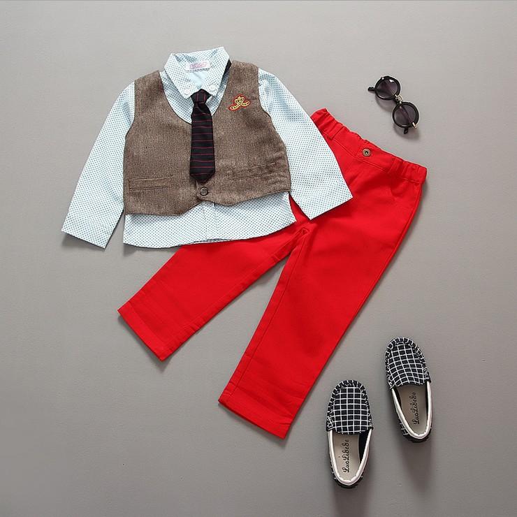 Kids clothes boys 2016 New Long-sleeved cotton shirt dot vest Set baby Clothing boy 20# - Banjvall Uni-kid Store store