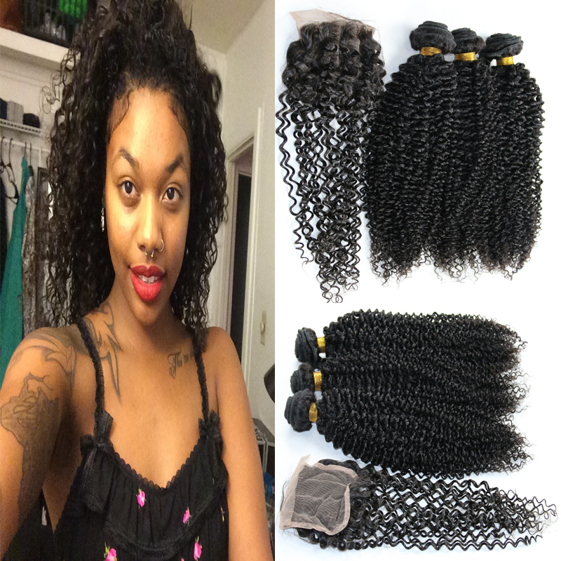 Brazilian jerry curl virgin hair with closure Best Unprocessed bundles and closure Brazilian hair bundles with lace closures<br><br>Aliexpress