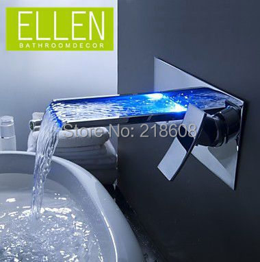 Shipping in 24 Hours Bathroom Mixer Tap Color Changing LED Waterfall Wall Mount Bathroom Sink Faucet Torneira cozinha(China (Mainland))