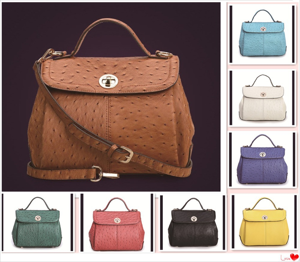 Guaranteed 100% genuine leather handbags ostrich women messenger bag tote leather shoulder bags(China (Mainland))