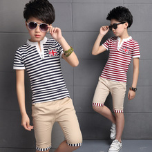 2016 New Arrival Boys Summer Suits V-Neck Striped Pullover T-Shirt And Solid Half Pants Toddler Boys Short Sets Kids Clothing