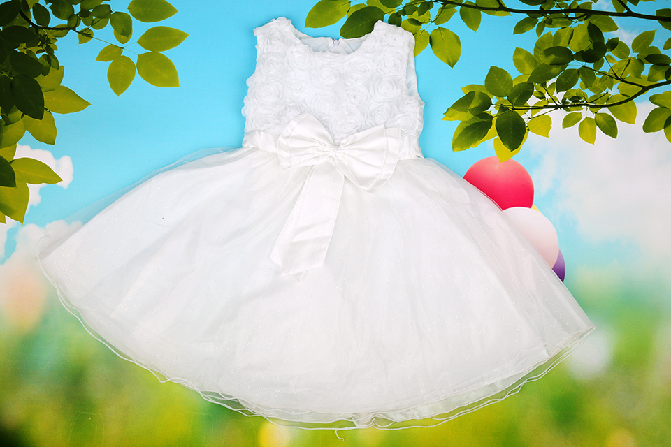 2015 Girls Dresses princess White/Pink/red Flower Bow Lace Party Wedding Bridesmaid Princess Child/Kids dress for 3-11 age(China (Mainland))