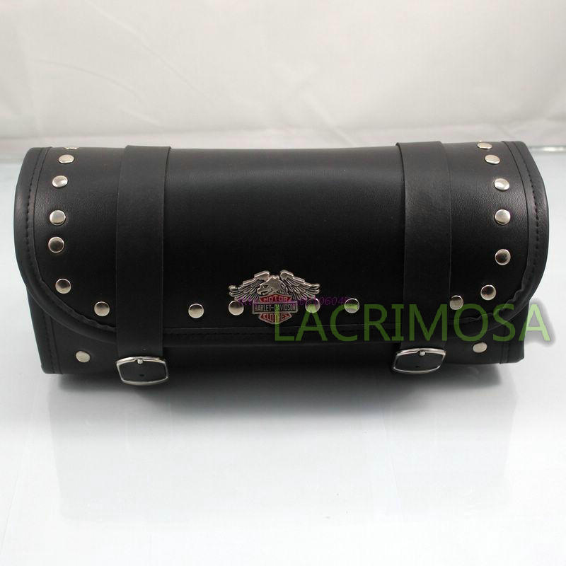 Leather studded round front fork sissy bar tool pouch luggage bag For Harley(China (Mainland))