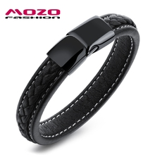 Buy MOZO FASHION Men Black Leather Bracelet Stainless Steel Magnetic Buckle Bracelets & Bangles Male Punk Jewelry Pulseras MPH1101 for $5.86 in AliExpress store