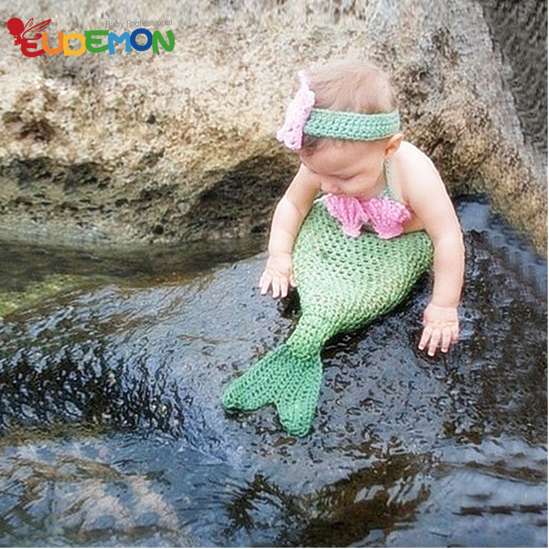 [Eudemon] 2016 Mermaid Blanket Costume For Newborn Photography Props Knitting Accessories For Infant Birthday Disfraces(China (Mainland))