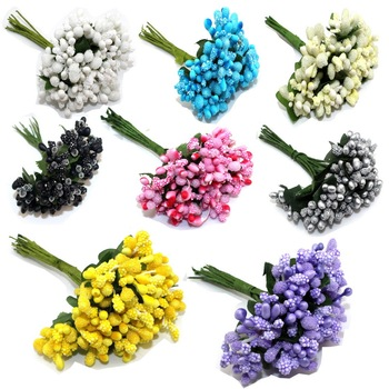 12PCS/lot Mulberry party Artificial Flower Stamen wire stem/marriage leaves stamen wedding box decoration