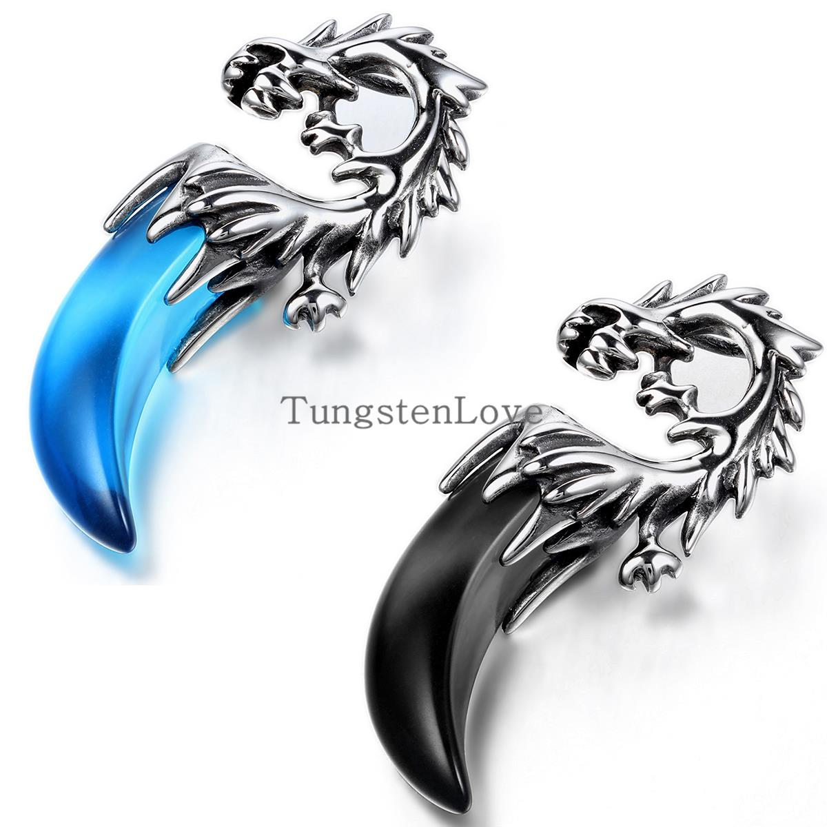 New 2015 Tribal Mens Stainless Steel Dragon Tooth Pendant Necklace Boys hip hop pendant colgantes hombre Blue & Black selection(China (Mainland))