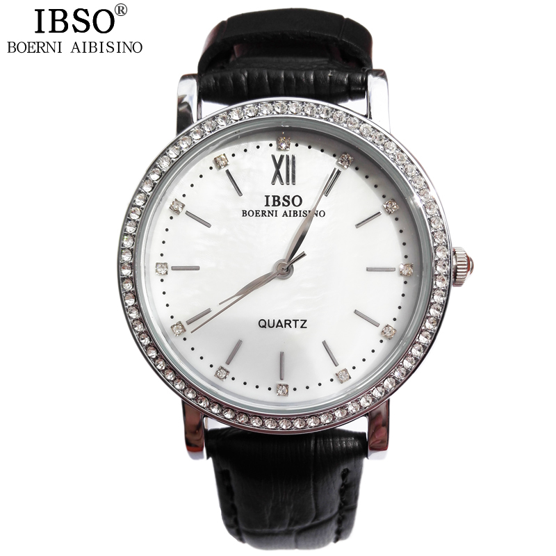 IBSO Women Quartz Watches Round Leather Band 2015 New Relogio Feminino Water Resistant High Quality Business Womens Watches