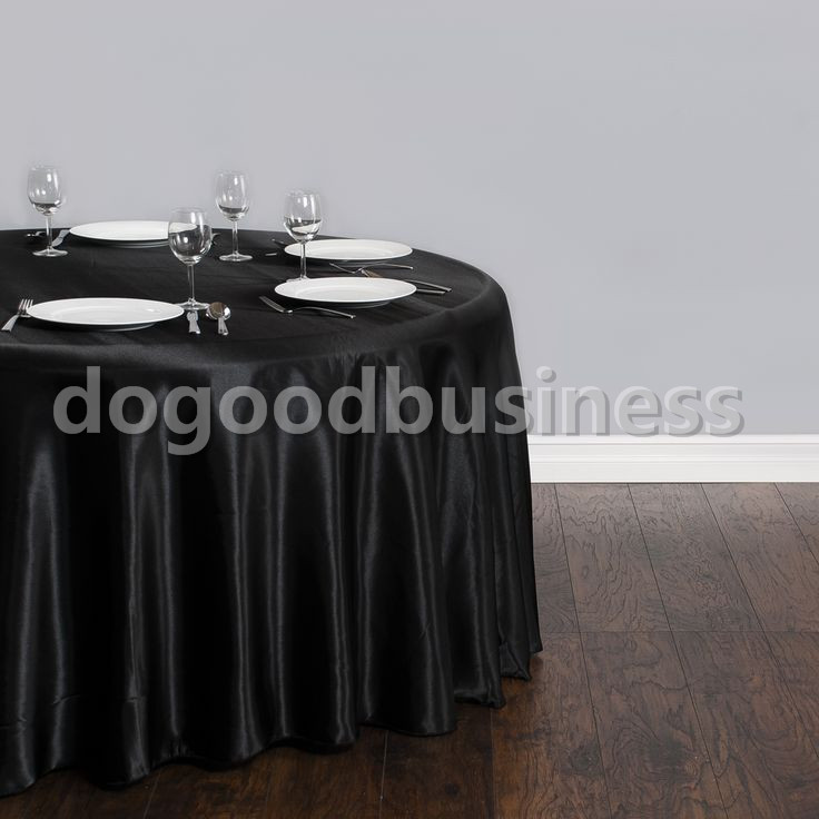 10pcs/Pack Black / White 120 Inch Round Satin Tablecloths Table Cover for Wedding Party Restaurant Banquet Decorations(China (Mainland))