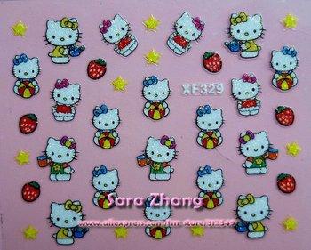 HOT  100x hello kity nail sticker,  High quality Mix 3D Nail Art sticker, Free shipping