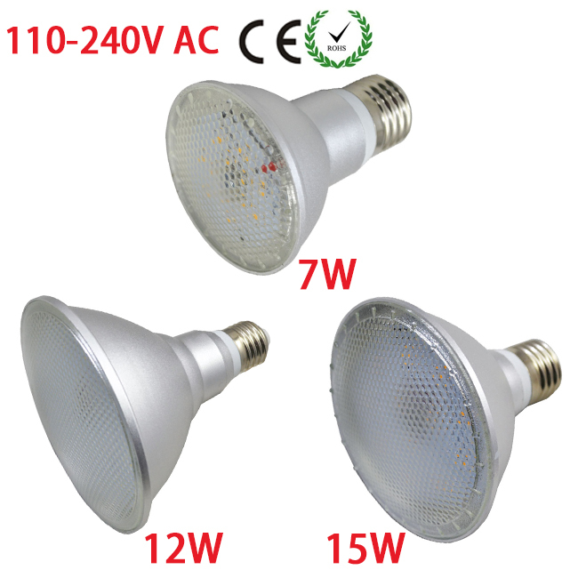 1 X Led E27 Lamp Par38 15W Downlight Par20 7W/Par30 12W SMD 2835 AC 110V/120V 220V/230V/240V Spotlight Bulb(China (Mainland))