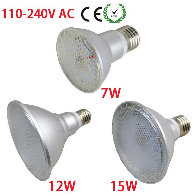 1X Dimmable Spotlight Led E27 Lamp Waterproof Par38 15W Downlight Par20 7W/Par30 12W AC 110V/120V/220V/240V White Warm White(China (Mainland))