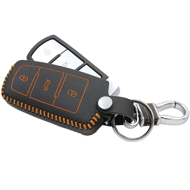 Car Styling Genuine Leather Key Holder Case Chain Clip Volkswagen Passat CC B5 B6 B7  -  SNCNMIKO Store store