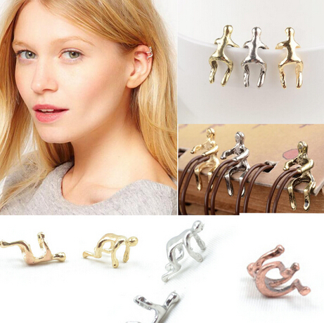 1Pair New Fashion Elegant Gold&Silver Plated Earrings Climbing Man Naked Climber Ear Cuff Helix Cartilage Earring Vintage(China (Mainland))