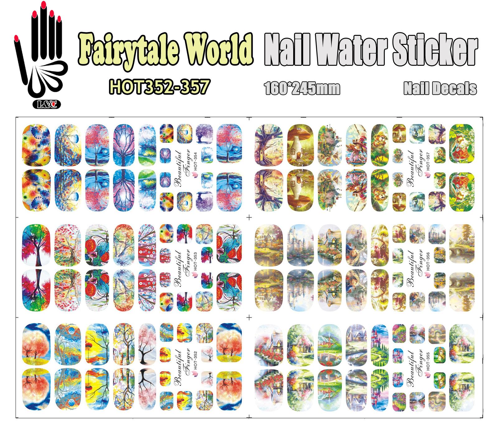 6 Sheets/Lot Art Nail HOT352-357 Fairytale World Full Cover Nail Film Nail Art Water Sticker Decal For Nail Art (6 DESIGNS IN 1)(China (Mainland))