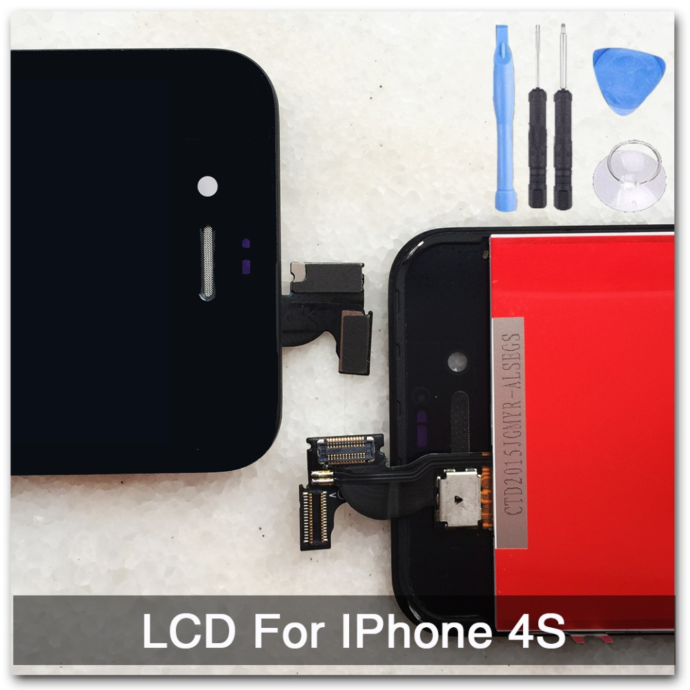 Black For iPhone 4S LCD Touch Screen With Digitizer Display Glass Assembly Complete Replacement With Free Tools,free shipping