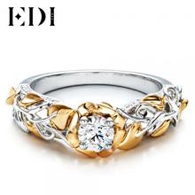 EDI 0.5CT Круглая Огранка Тест Положительный Муассанит (D-F ВВС) настоящее 9 К Two-tone Золото Кольцо Для Женщин Лаборатория Grown Алмаз Изящных Ювелирных Изделий(China (Mainland))