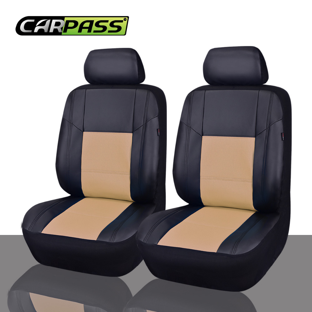 car pass 6pcs universal pu leather auto seat covers synthetic set 2 front seat covers car covers. Black Bedroom Furniture Sets. Home Design Ideas