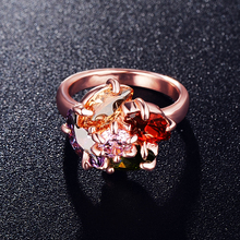 Flower Shaped Ladies Rings Jewellery 18K Rose Gold Plated AAA Zircon High-end Ring Ri-HQ0075