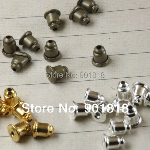 (Min order$10,can mix) Free shipping 200pcs/lot gold/silver earring back Jewelry Finding