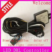 car Led DRL controller wire, daytime runnng light auto ON/OFF, with flashing and  reduce light and synchronous steering function