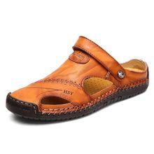 Estate Sandali di Cuoio Degli Uomini Classici Sandali Romani 2019 Pantofola Scarpa Da Tennis All'aperto Spiaggia Flip Flop In Gomma Degli Uomini di Acqua Trekking Sandali(China)