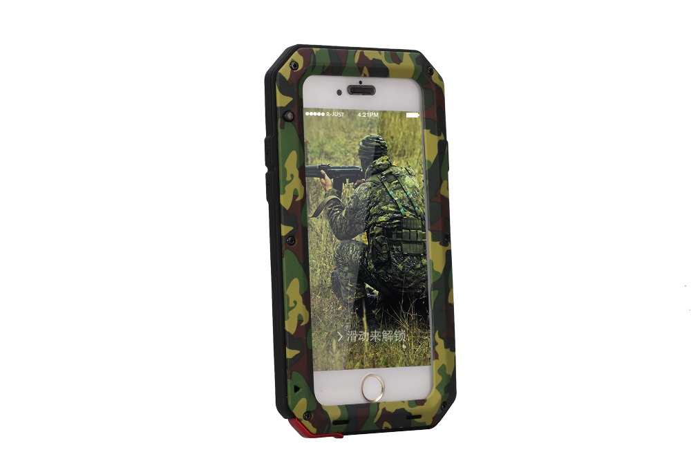 Green camouflage armor Dirt Shock Waterproof Metal Aluminum cell phone case For iphone 4 4s 5 5c 5s SE 6 Plus + Tempered glass(China (Mainland))