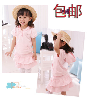 2015 Hot Sale New Freeshipping Solid Free Shipping!2013 Short-sleeve 100% Cotton Summer Lovely Angel Girl Dress Set(top+dress)