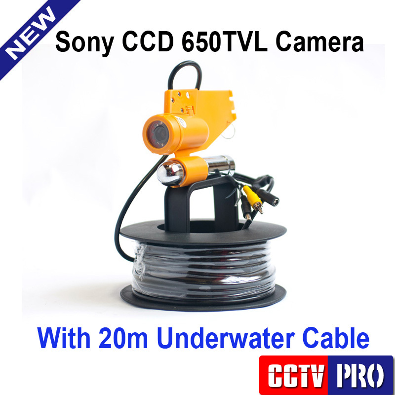 Only Underwater Fishing Camera CCD 650TVL 12Pcs White Light Leds Night Vision Camera One Stick + 20m Cable work with Fish Finder(China (Mainland))