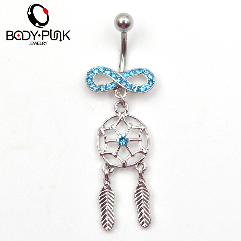 Body piercing jewelry blue cz infinity dream catcher navel for Belly button jewelry store