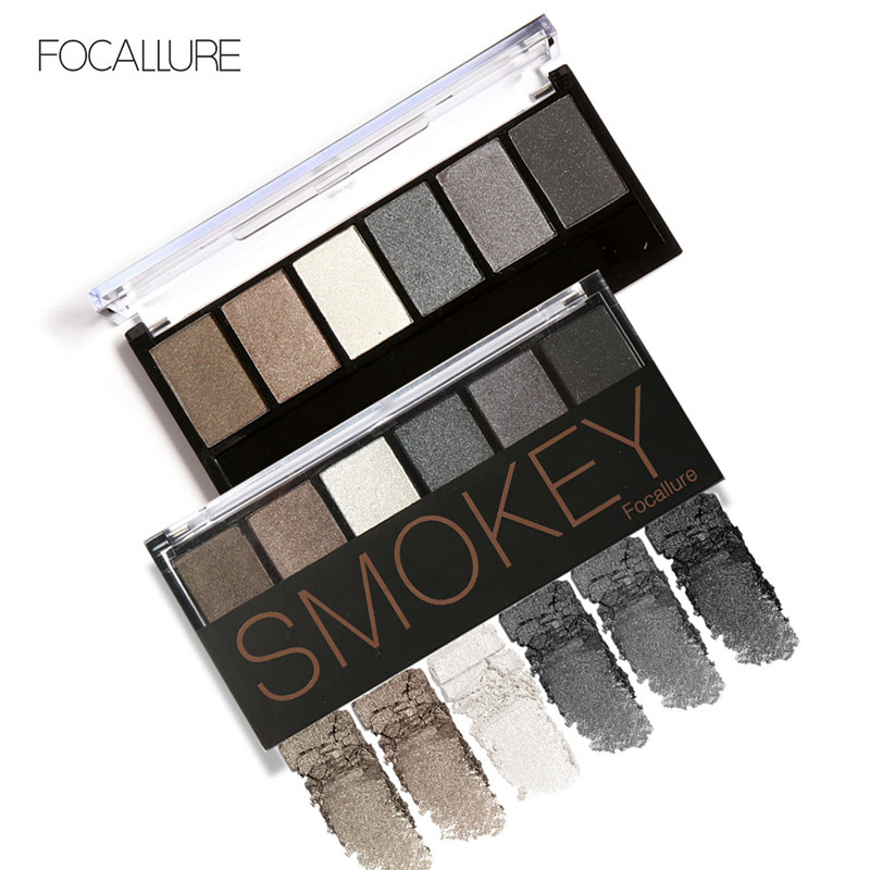 Professional 6 Colors Eyeshadow Palette Glamorous Smokey Eye Shadow Shimmer Colors Makeup Kit by Focallure