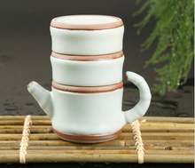 3pcs/set,1teapot+2teacups Japan style bamboo shaped ceramic /travel tea set tea cup gaiwan tea pot quick cup creatve taza