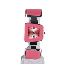 6 Colors Fashion New Girls Ladies Womens Watch Charms Bracelet Bangle Watch Trapezoid Small Dial Quartz