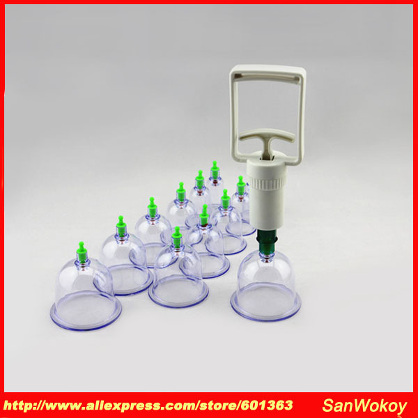 Hot Sale! Chinese Vacuum Cupping Device 12 Tank Vacuum Magnetic Therapy Vacuum Tank Cupping Devices Free Shipping(China (Mainland))